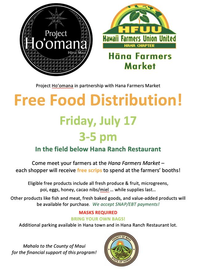 Hana Farmers Market & Free Food Distribution