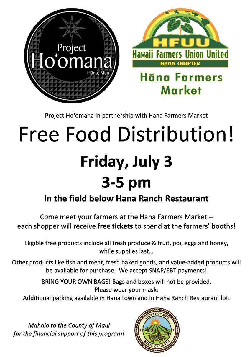 Hana Farmers Market Free Food Distribution
