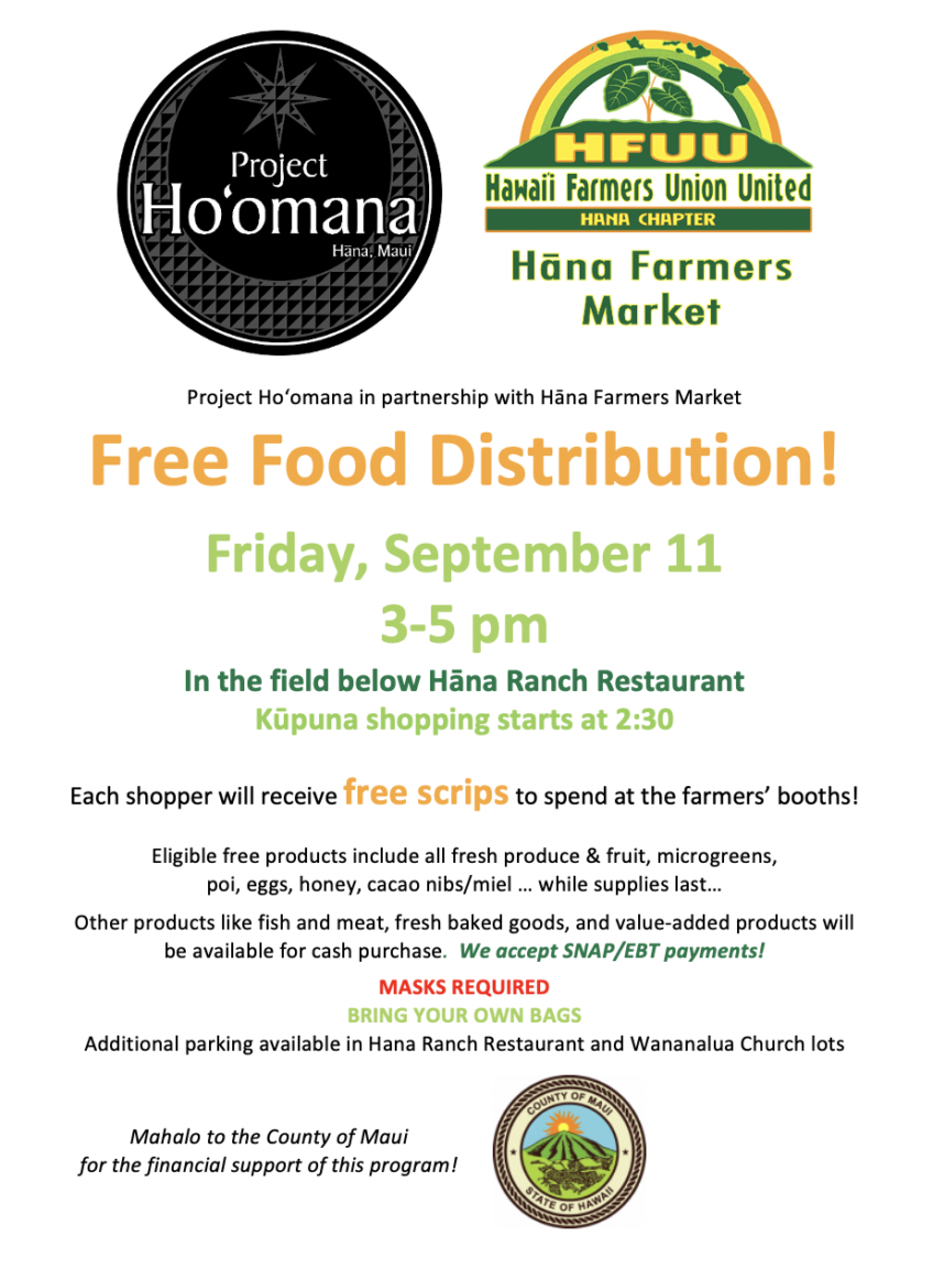 Free Food Distribution at Hana Farmers Market