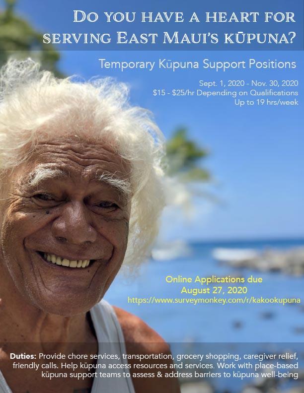 Kāko'o Kūpuna -Temporary Kūpuna Support Positions