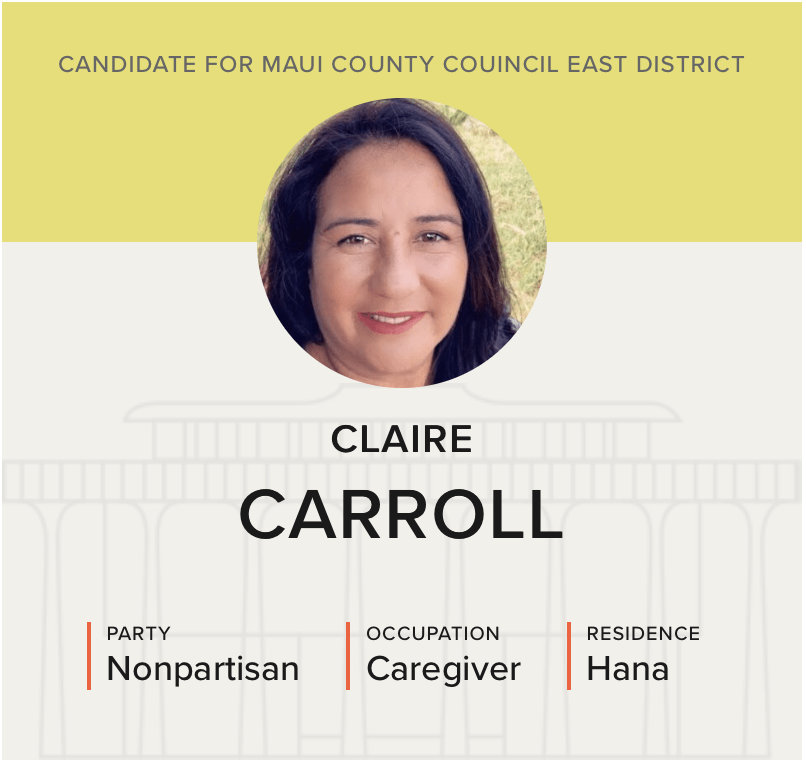 Politics Candidate Q&A: Maui County Council East District — Claire Carroll