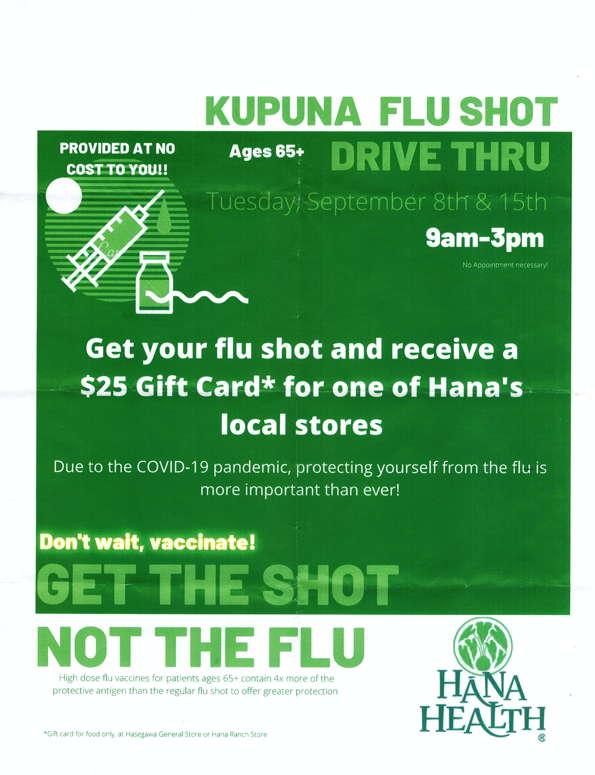 Kupuna Flu Shot Drive-Thru