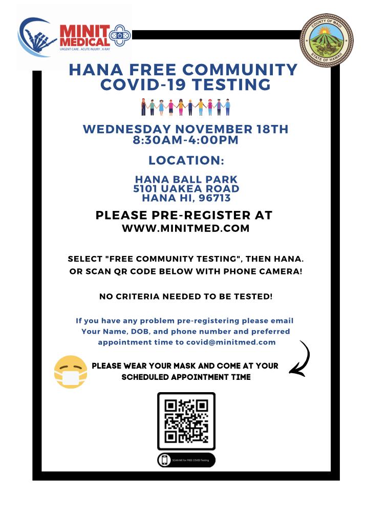 Hana Free Community COVID-19 Testing