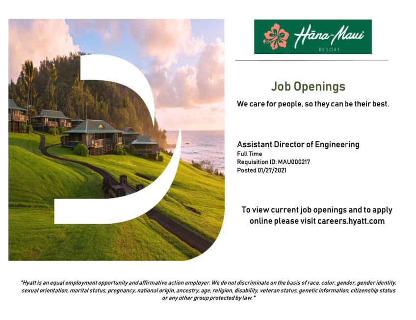 Hana-Maui Resort Job Opening: Assistant Director of Engineering